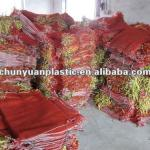 For firewood packing leno mesh plastic bags with drawstring