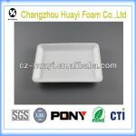 white disposable foam polystyrene foam trays for food packaging
