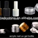 empty acrylic nail gel bottle, UV Gel glass nail polish bottles with brush and cap