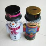 snow man shape metal tin as christmas gift tin