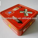 medium size excellent square tin box for cookies/tea/coffee packaging