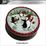 Round tin gift christmas box
