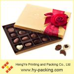 High quality rectangle 8 grain brown chocolate box with ribbon