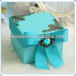 Excellence Blue Piped Gift Boxes Wholesale With Bow-Knot For Wedding Guest Souvenir Favor