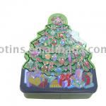 Christmas tree shaped packaging tin box tin can