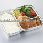 Three compartment disposable aluminum foil container