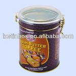 round shape with clasp plastic lid metalic coffee tin,tea tin