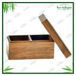 Custom bamboo tea box with 2 compartments