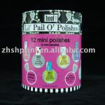 round paper cans to nail polish