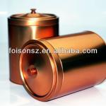 large metal tea tin box with knob