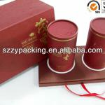 2 tins packed tea packaging box with base tray