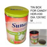 round tin canister with double airtight lid for sugar or food