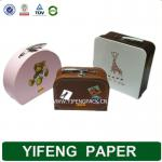 custom suitcase paper packaging box with metal handle