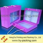 wine bottle gift box with PVC window/comartment box with handle