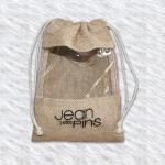small burlap drawstng jute bag with window