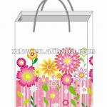 European Style Flower Design Everyday Paper Gift Bag With Ribbon Handles