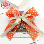 366-33 Handmade White Dots Printing Satin Ribbon Bow for hair accessories