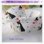 Christmas Polyester Grosgrain Cat Printed Ribbon