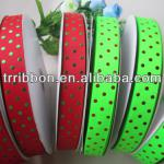 Colorful gold dots printed grosgrain ribbon