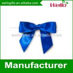 Royal blue pre-tied satin ribbon bow with elastic loop