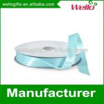 5/8 inch light blue China wholesale high quality double face box wrap decorative polyester satin ribbon