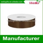 1 inch brown China wholesale high quality single face box packaging decorative polyester satin ribbon