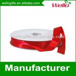 7/8 inch ruby China wholesale high quality double face box packaging decorative polyester satin ribbon for wedding