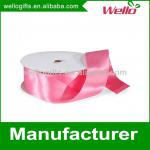 1 inch light pink China wholesale high quality single faced box packaging decorative polyester satin ribbon