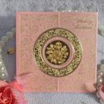 Royal Hot Stamping Foil Wedding Card With Pretty Flower---W086C