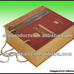 Brown cardboard cigar box with flocking insert