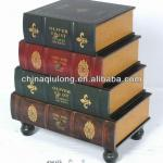 Decorative Wooden Book Box With Drawer (QL-1978)