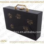 High Polished Wooden suitcase with waterprint
