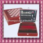 wooden wine packaging box with chess set